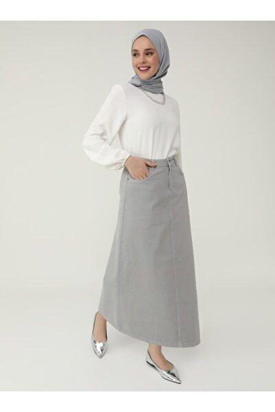 Refka Kadın Gri Doğal Kumaşlı Cep Detaylı Kot Etek Gri Refka Casual 1842073