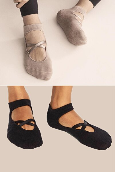 Trick or Treat 2'li Paket %80 Pamuklu Yoga Ve Pilates Için Kadın Teknik Çorap