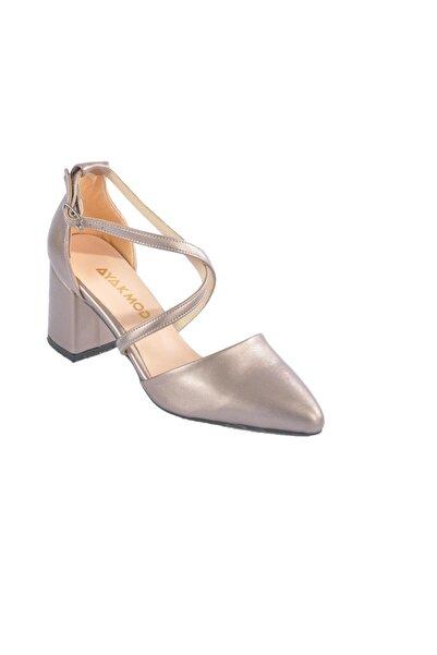 Maje Kadın Platin Çapraz Bantlı Topuklu Ayakkabı