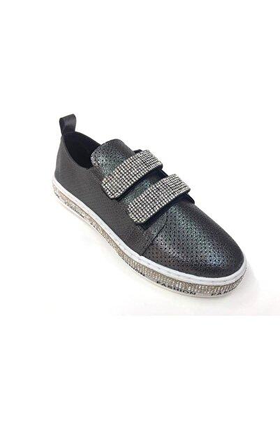 Markopark Kadın Platin Taşlı Cırtlı Günlük Spor  Ayakkabı