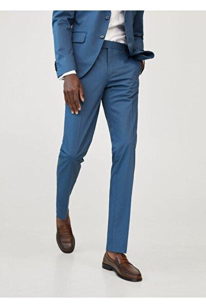 MANGO Man Erkek Mavi Dar Kesimli Takım Pantolon