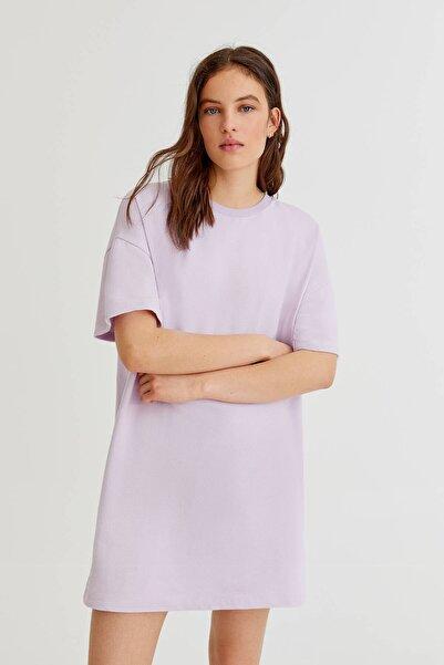 Pull & Bear Kadın Lila Basic Koton T-shirt