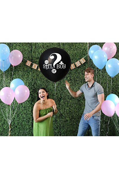 ENJOYPEPERON Cinsiyet Belirleme Balonu + 6 Adet Balon + Flama , Kız Bebek