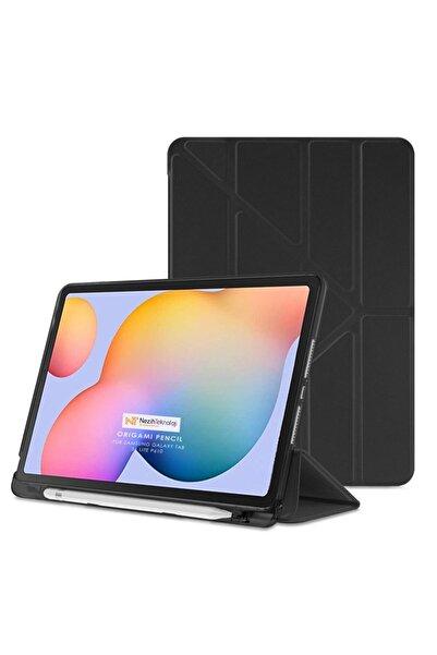 Samsung Galaxy Tab S6 Lite Uyumlu Origami Kalem Bölmeli Pu Deri Arkası Yumuşak Silikon Nezih Case Kılıf