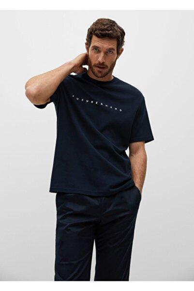 MANGO Man Erkek Lacivert Relaxed Kesim Yazılı Tişört