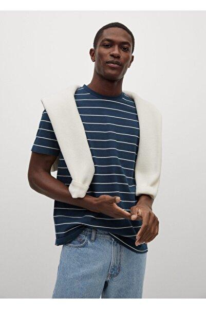 MANGO Man Erkek Lacivert Çizgili Bisiklet Yaka T-Shirt