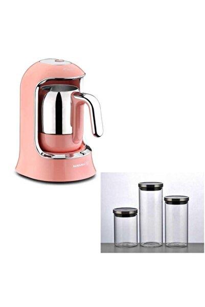 KORKMAZ A860 Kahvekolik Otomatik Türk Kahve Makinesi Pembe Ve 3lü Cam Kavanoz