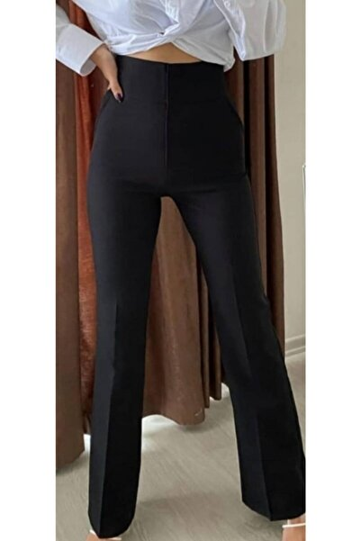 The Ness Collection Kadın Siyah Ispanyol Paça Kumaş Pantolon