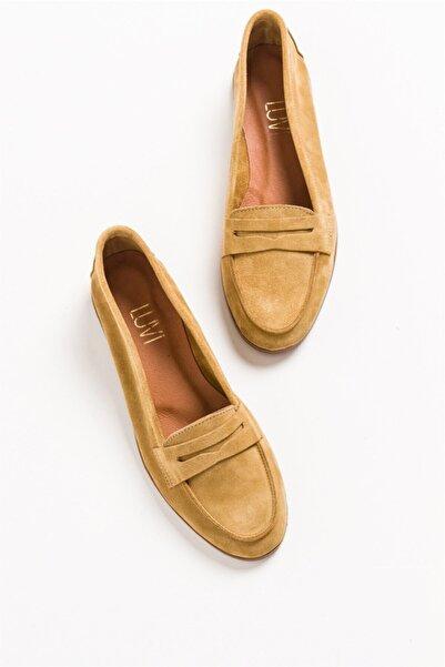 LuviShoes F02 Hardal Süet Kadın Babet