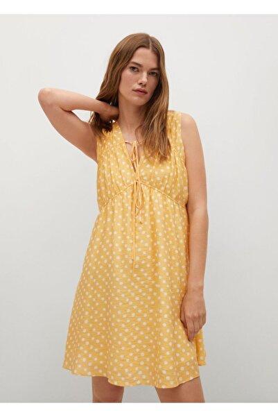MANGO Woman Kadın Sarı Desenli Dökümlü Elbise