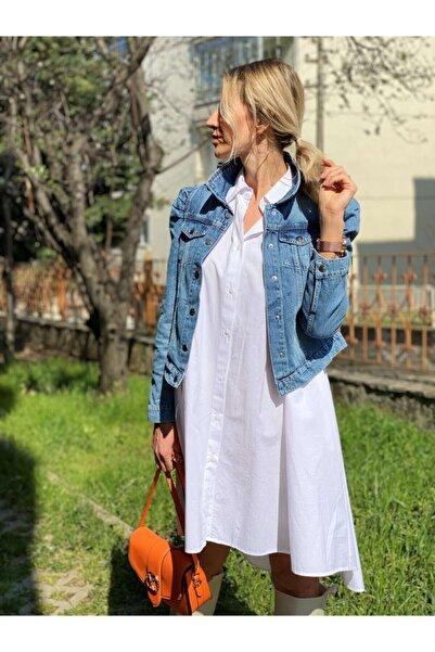 Bebe Kadın Mavi Balon Kol Kot Ceket