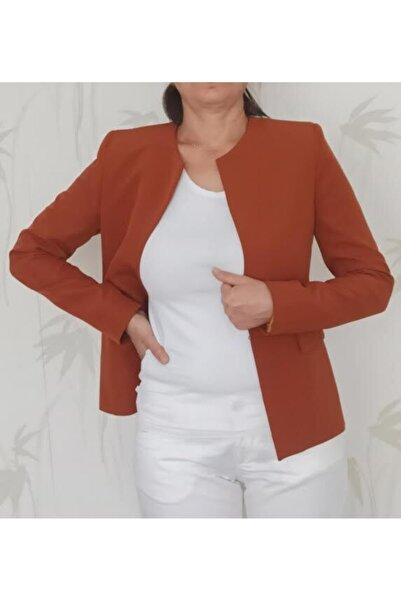 Ashley Kadın Kahverengi Kısa Dar Kalıp Yakasız Blazer Ceket