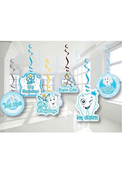 Huzur Party Store Ilk Dişim Temalı Diş Buğdayı Konsepti Mavi Renk 6'lı 70 Cm Çift Taraflı Sarkıt Tavan Süsü