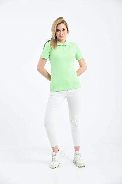 Cadde Cihangir Kadın Fıstık Yeşili Yeşil Renk Polo Yaka Pamuklu T-shirt