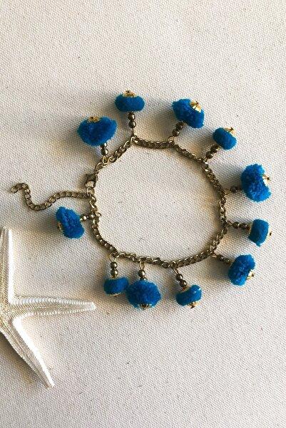 BöğürtlenStore Kadın Mavi Arya El Yapımı Ponpon Halhal