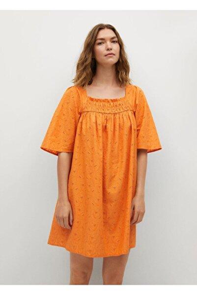 MANGO Woman Kadın Turuncu Dokuma Koton Elbise