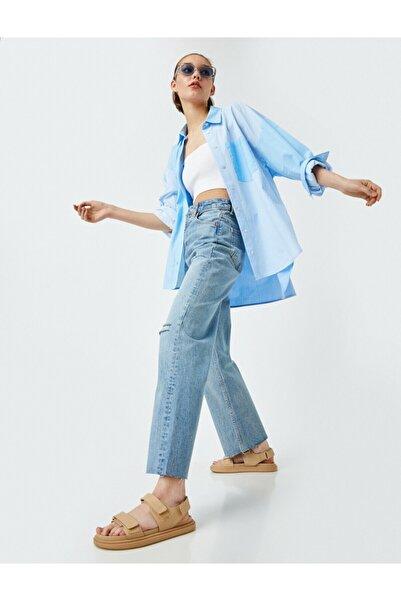 Koton Kadın Mavi  Yüksek Bel Normal Kesim Hafif Düz Paça Pantolon