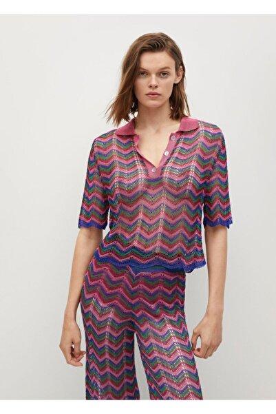 MANGO Woman Kadın Pembe Delikli Örgü Polo Yaka T-shirt