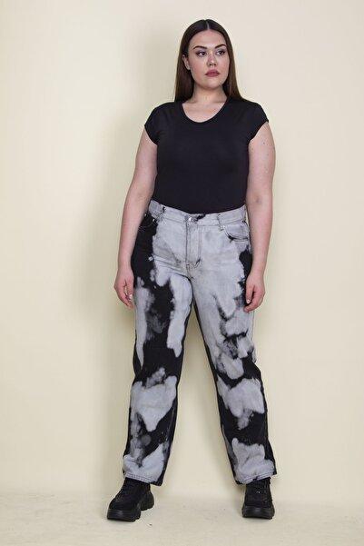 Şans Kadın Gri Batik Desenli 5 Cepli Kot Pantolon 65N25678