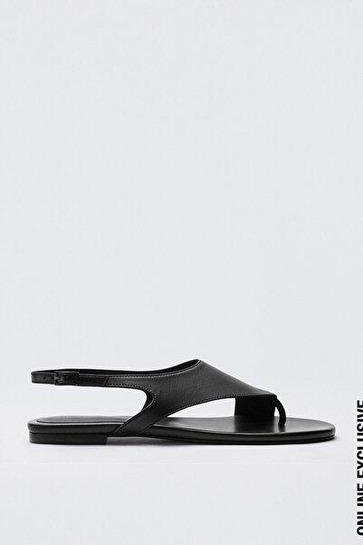 Massimo Dutti Kadın Asimetrik Üst Parçalı Deri Sandalet 11760850