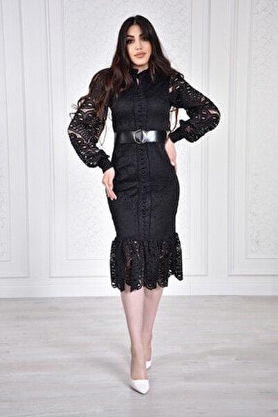 Kadın Siyah Önü Düğmeli Güpür Dantel Tasarım Elbise