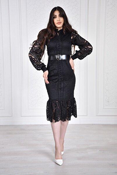 Matik Abiyem Kadın Siyah Önü Düğmeli Güpür Dantel Tasarım Elbise