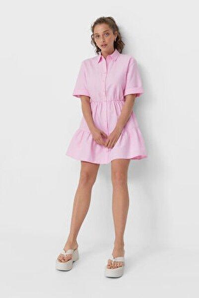 Kadın Pembe Kısa Gömlek Elbise