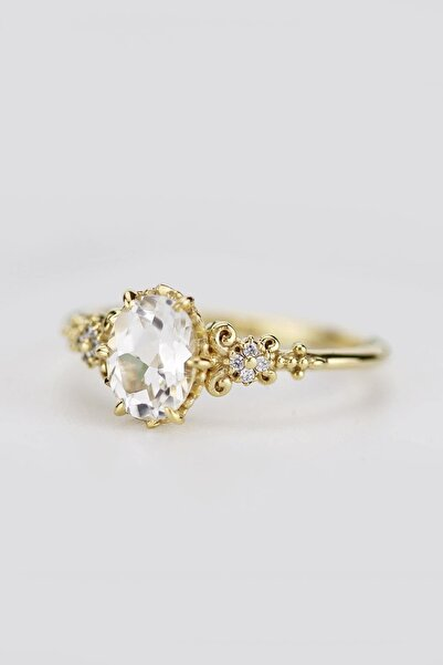My Diamond Vintage Tasarım Beyaz Safir Ve Pırlanta Yüzük