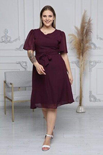 Kadın Mor Büyük Beden Bağlama Detaylı Şifon Elbise 4257/110