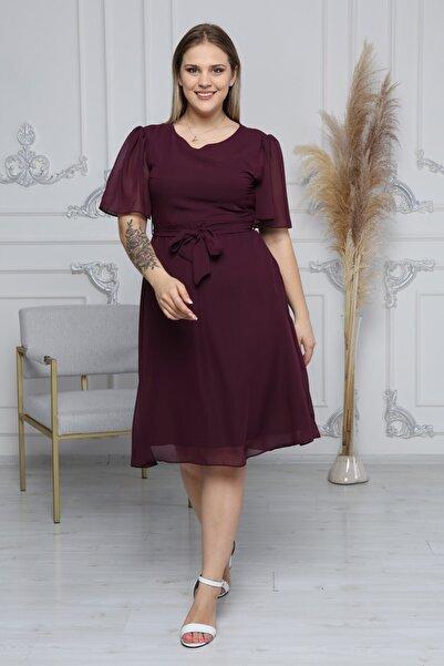 apsen Kadın Mor Büyük Beden Bağlama Detaylı Şifon Elbise 4257/110