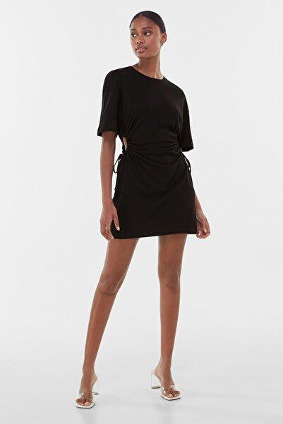Bershka Kadın Siyah Büzgülü Elbise