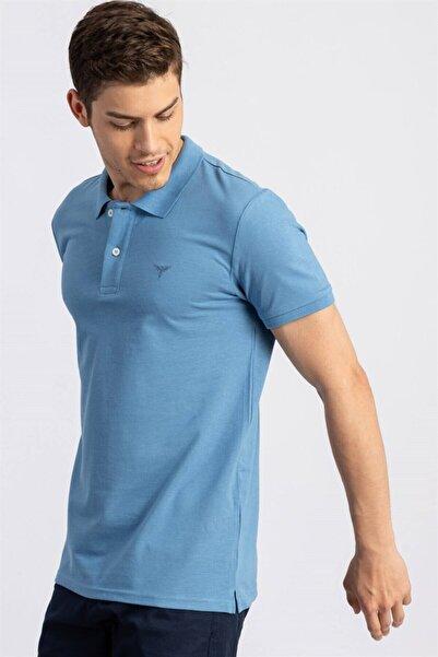 Tudors Erkek Slim Fit Dar Kesim Polo Yaka Mavi   T-shirt