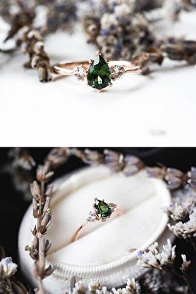 Mistik Topaz Yeşil Taşlı Ayarlanabilir Kadın Rose Altın Kaplama Yüzük