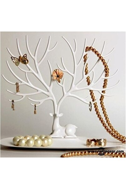 Turkish A2Z Beyaz Geyik Tasarımlı Takı Standı Takı Askısı