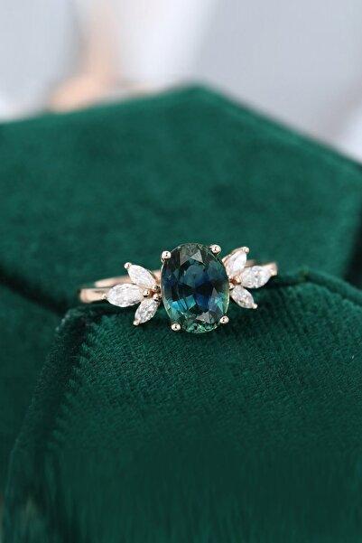 My Diamond Loren Mavi/yeşil Safir Taşlı Pırlanta Tasarım Yüzük Rose Altın