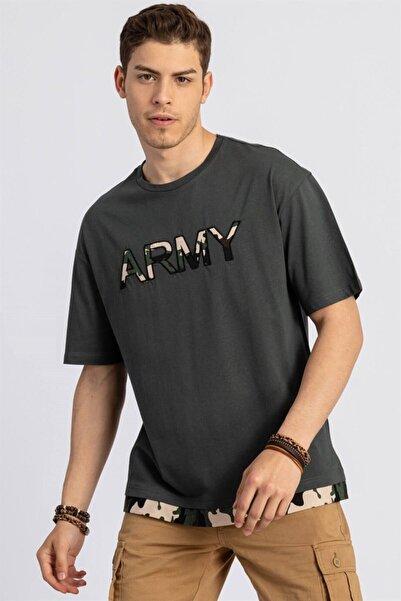 Tudors Oversize Kamuflaj Baskı Desenli Bisiklet Yaka Haki Erkek T-shirt
