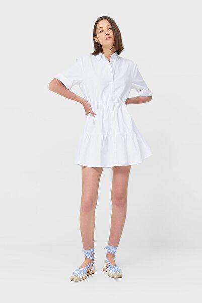 Stradivarius Kadın Beyaz Kısa Gömlek Elbise