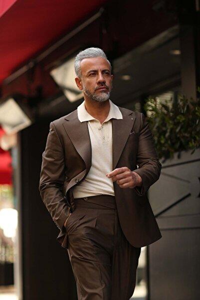 Fc Plus Erkek Kahverengi Geniş Mono Yaka Pileli Takım Elbise 5941