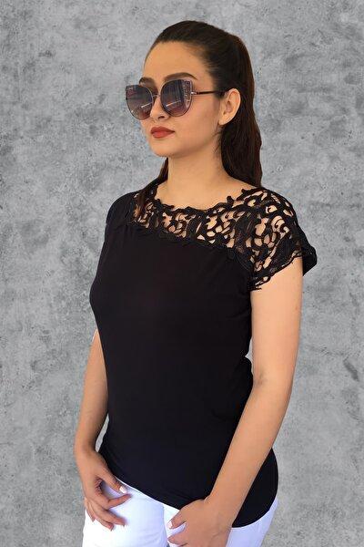MODANİCE Kadın Siyah Robası Güpür Bluz
