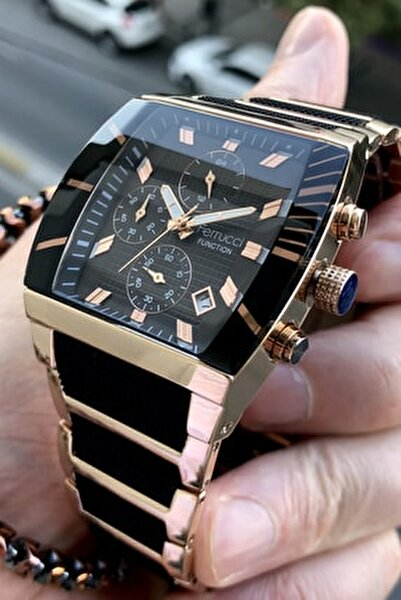 Erkek Siyah Function Çelik Kordon  Kol Saati + Bileklik