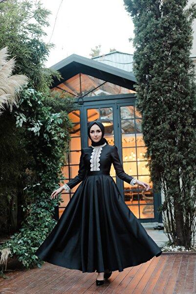 minel aşk Kadın Siyah Dasntel Detaylı Tafta Abiye Elbise