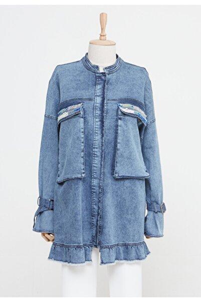 Setrms Kadın Lacivert Cep Detaylı Kot Ceket