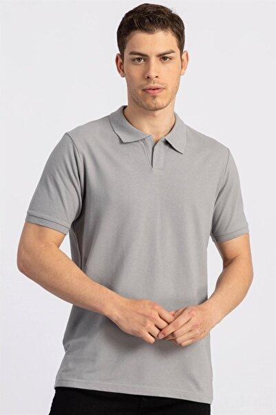 Tudors Erkek Gri Slim Fit Düğmesiz Polo Açık Yaka T-shirt