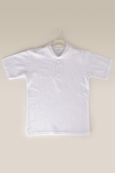 ÇÖLBAY Unisex Çocuk Beyaz Polo Yaka Kısa Kol Düz Renk T-shirt