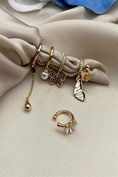 Kelebek Set Küpe Gold Renk  6'lı