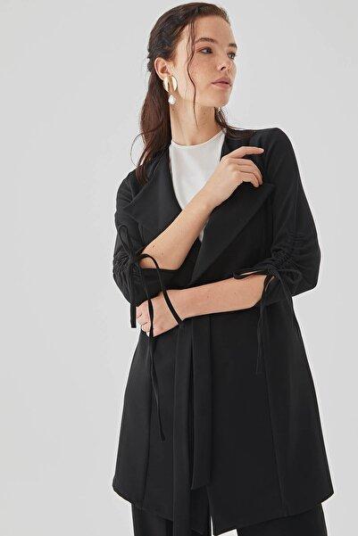 Nihan Bağlamalı Blazer Ceket Siyah - D6067