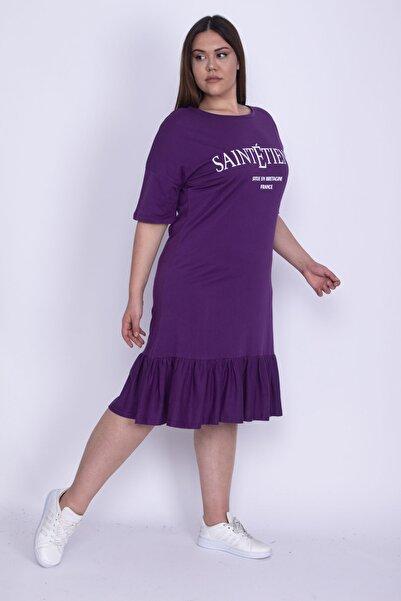 Şans Kadın Mor Ön Baskılı Etek Ucu Katlı Elbise 65N25804