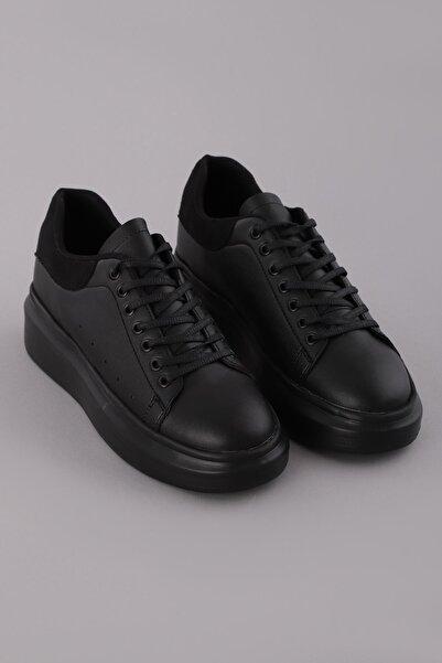 Arlin Erkek Bağcıklı Esnek Hafif Yapılı Arka Siyah Detaylı Siyah Kuş Siyah Spor Ayakkabı