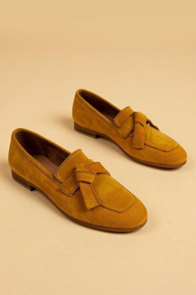 Deery Kadın Hardal Süet Loafer Ayakkabı