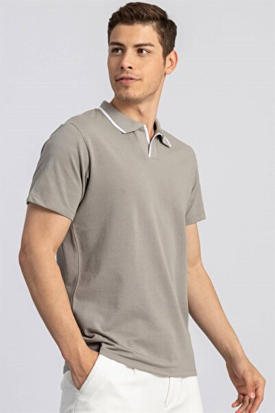 Tudors Erkek Gri Slim Fit Düğmesiz Polo Yaka Düz T-shirt